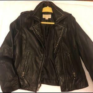 Michael Kors black leather motorcycle jacket
